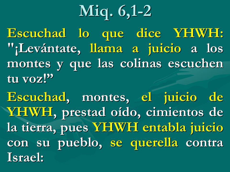 Miq. 6,1-2 Escuchad lo que dice YHWH: