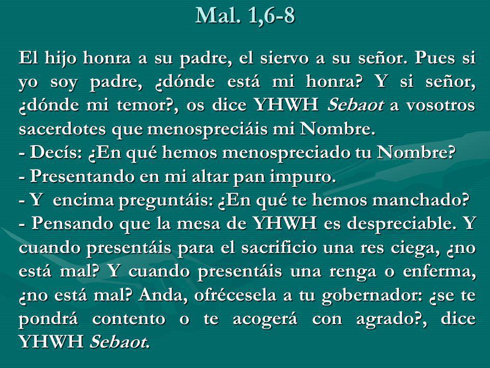 Mal. 1,6-8 El hijo honra a su padre, el siervo a su señor. Pues si yo soy padre, ¿dónde está mi honra? Y si señor, ¿dónde mi temor?, os dice YHWH Seba