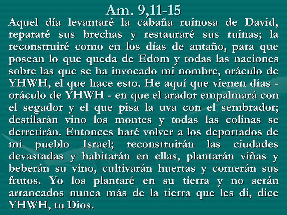 Am. 9,11-15 Aquel día levantaré la cabaña ruinosa de David, repararé sus brechas y restauraré sus ruinas; la reconstruiré como en los días de antaño,