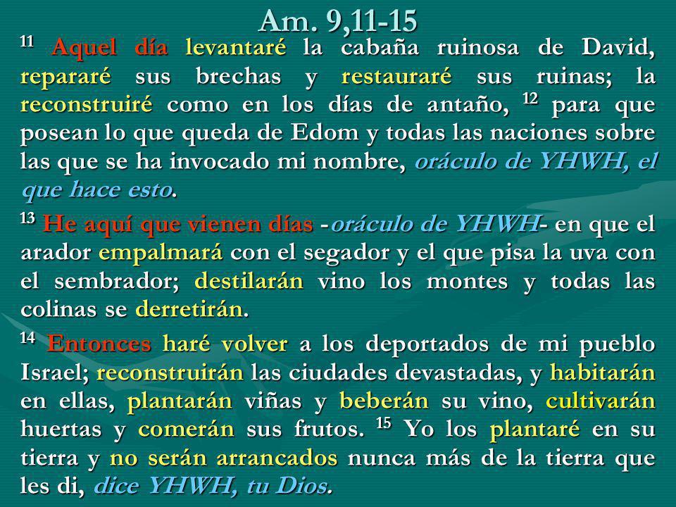 Am. 9,11-15 11 Aquel día levantaré la cabaña ruinosa de David, repararé sus brechas y restauraré sus ruinas; la reconstruiré como en los días de antañ