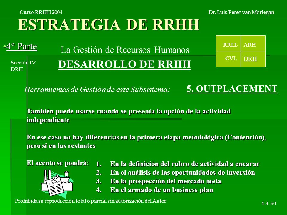 ESTRATEGIA DE RRHH 4° Parte4° Parte Curso RRHH 2004Dr.