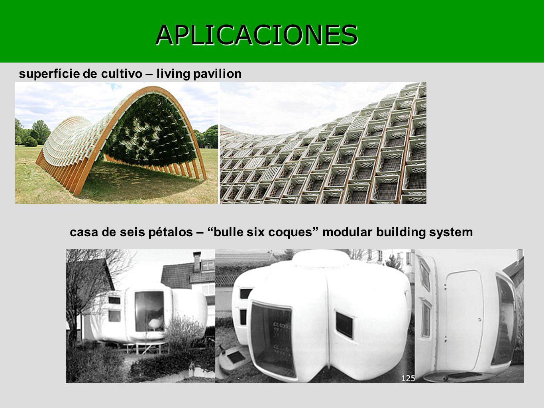 APLICACIONES superfície de cultivo – living pavilion casa de seis pétalos – bulle six coques modular building system