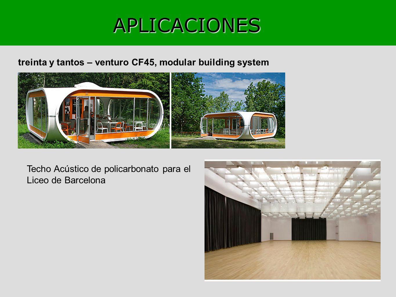 APLICACIONES treinta y tantos – venturo CF45, modular building system Techo Acústico de policarbonato para el Liceo de Barcelona