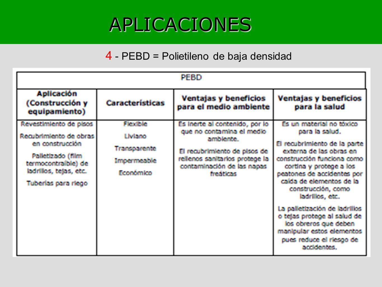 APLICACIONES 4 - PEBD = Polietileno de baja densidad