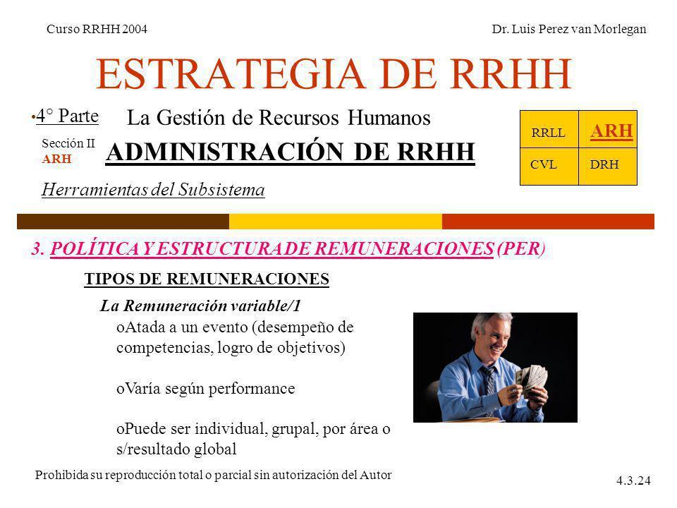 ESTRATEGIA DE RRHH 4° Parte Curso RRHH 2004Dr. Luis Perez van Morlegan Prohibida su reproducción total o parcial sin autorización del Autor 4.3.24 La