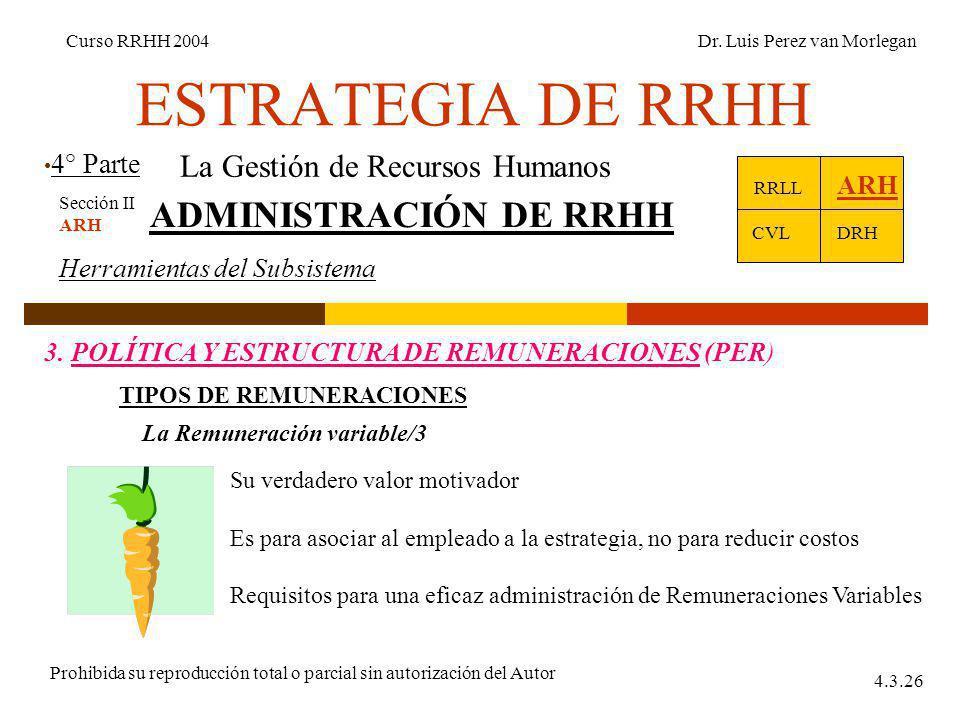ESTRATEGIA DE RRHH 4° Parte Curso RRHH 2004Dr. Luis Perez van Morlegan Prohibida su reproducción total o parcial sin autorización del Autor 4.3.26 La