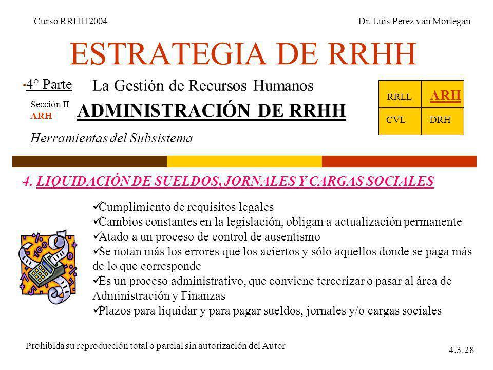 ESTRATEGIA DE RRHH 4° Parte Curso RRHH 2004Dr. Luis Perez van Morlegan Prohibida su reproducción total o parcial sin autorización del Autor 4.3.28 La