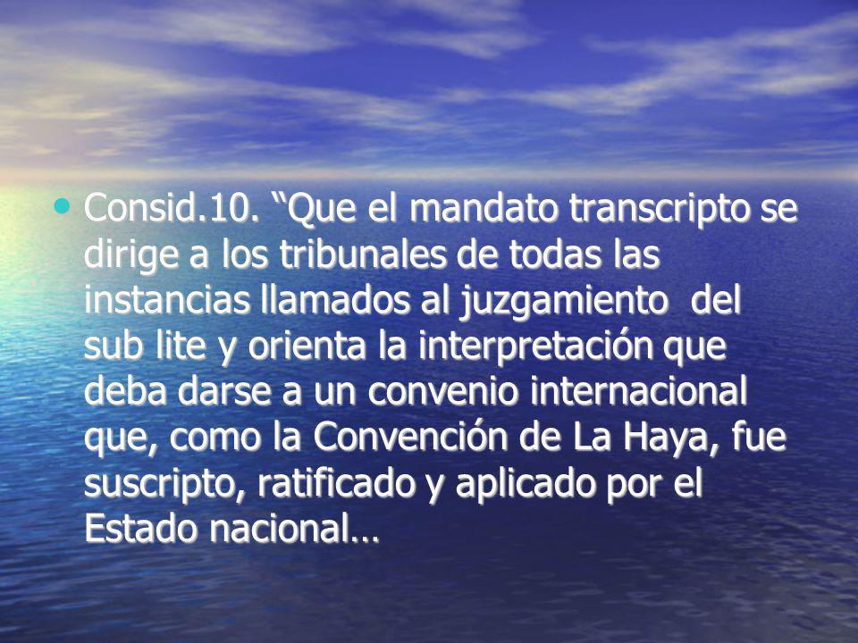 Consid.10. Que el mandato transcripto se dirige a los tribunales de todas las instancias llamados al juzgamiento del sub lite y orienta la interpretac