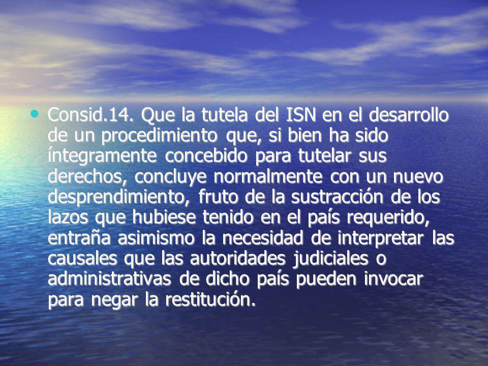 Consid.14. Que la tutela del ISN en el desarrollo de un procedimiento que, si bien ha sido íntegramente concebido para tutelar sus derechos, concluye
