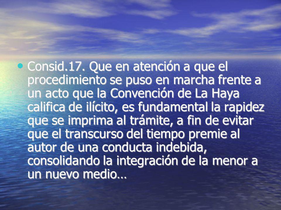 Consid.17. Que en atención a que el procedimiento se puso en marcha frente a un acto que la Convención de La Haya califica de ilícito, es fundamental