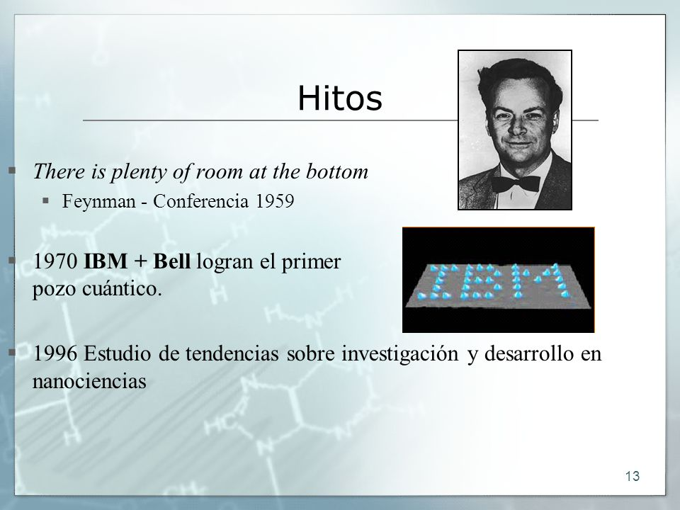 13 Hitos There is plenty of room at the bottom Feynman - Conferencia 1959 1970 IBM + Bell logran el primer pozo cuántico.