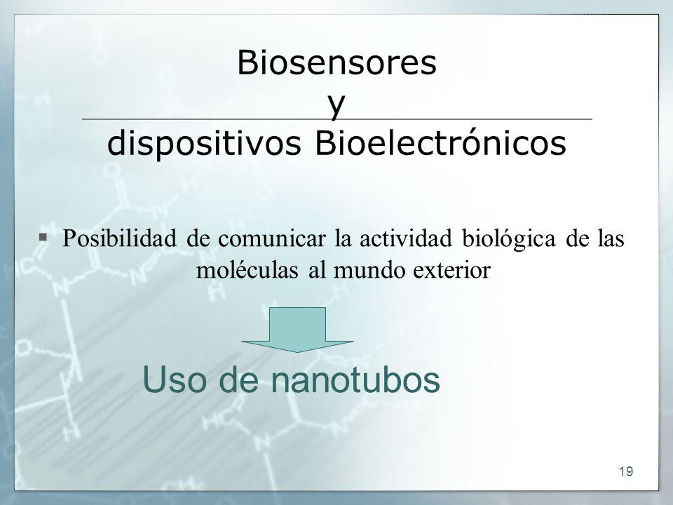 19 Biosensores y dispositivos Bioelectrónicos Posibilidad de comunicar la actividad biológica de las moléculas al mundo exterior Uso de nanotubos