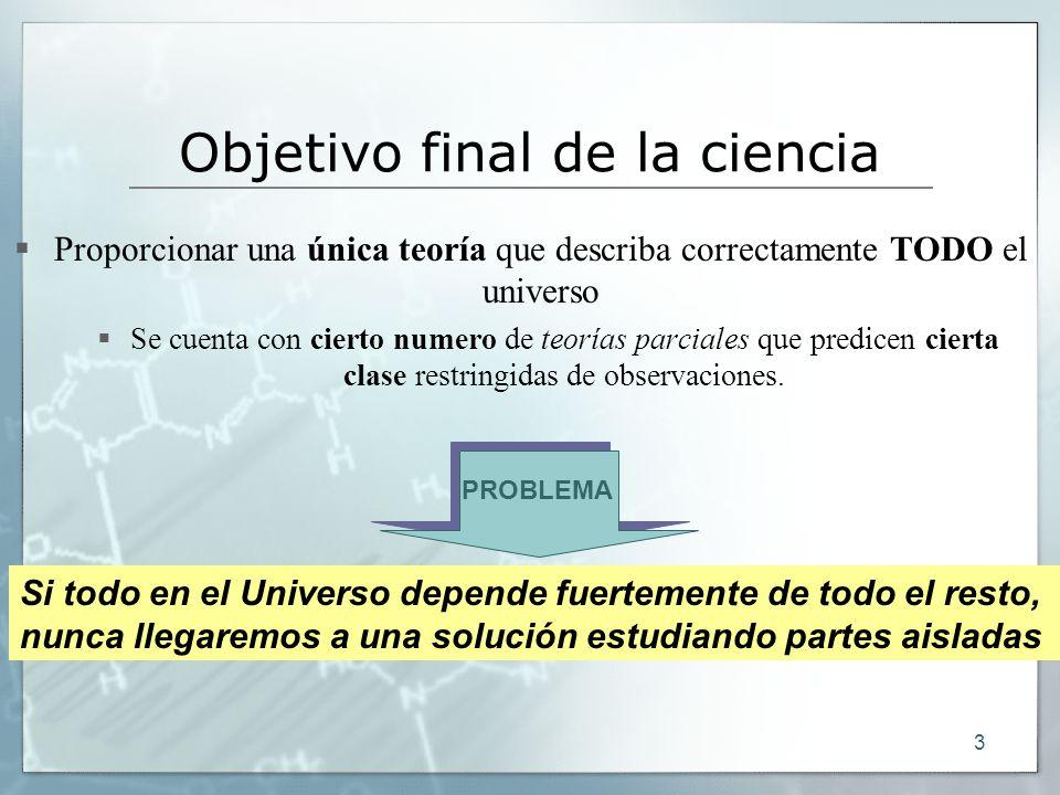 3 Objetivo final de la ciencia Proporcionar una única teoría que describa correctamente TODO el universo Se cuenta con cierto numero de teorías parcia
