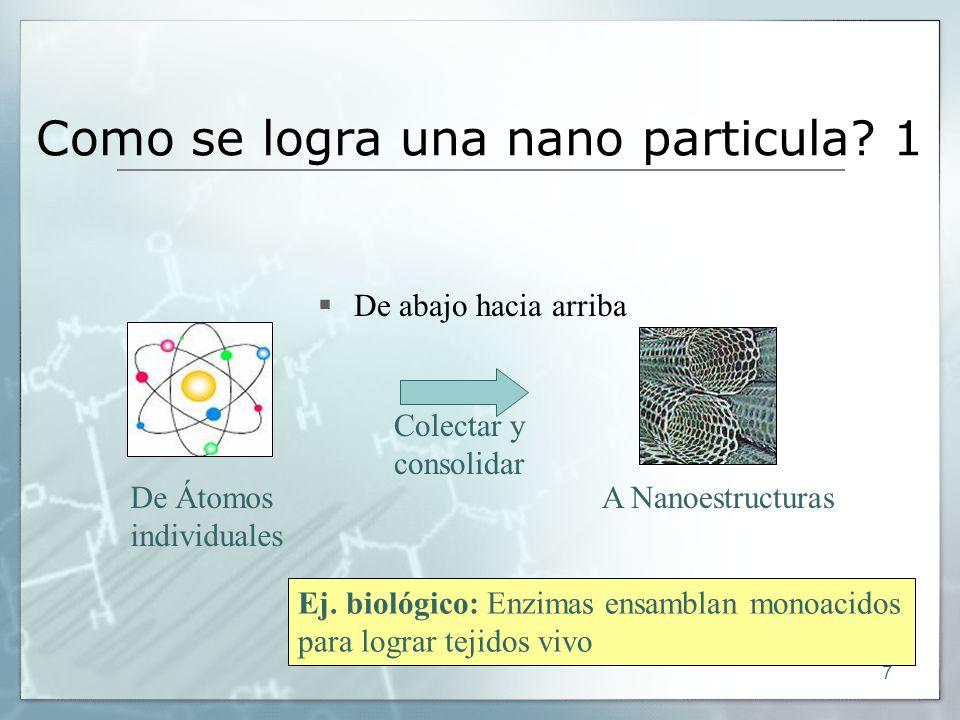 7 Como se logra una nano particula? 1 De abajo hacia arriba A Nanoestructuras Ej. biológico: Enzimas ensamblan monoacidos para lograr tejidos vivo Col