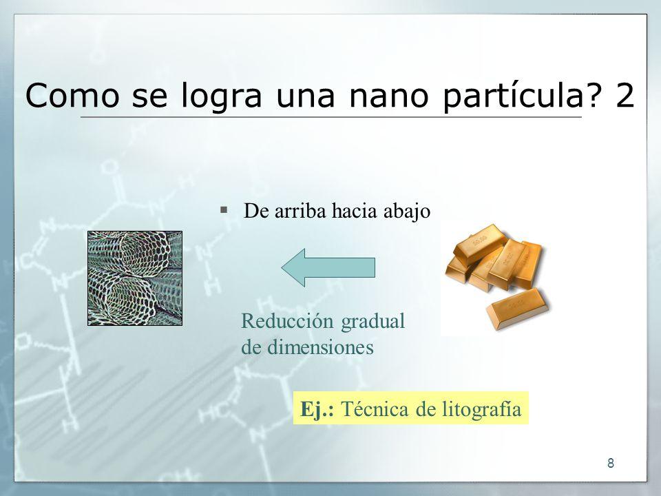 8 De arriba hacia abajo Como se logra una nano partícula? 2 Reducción gradual de dimensiones Ej.: Técnica de litografía