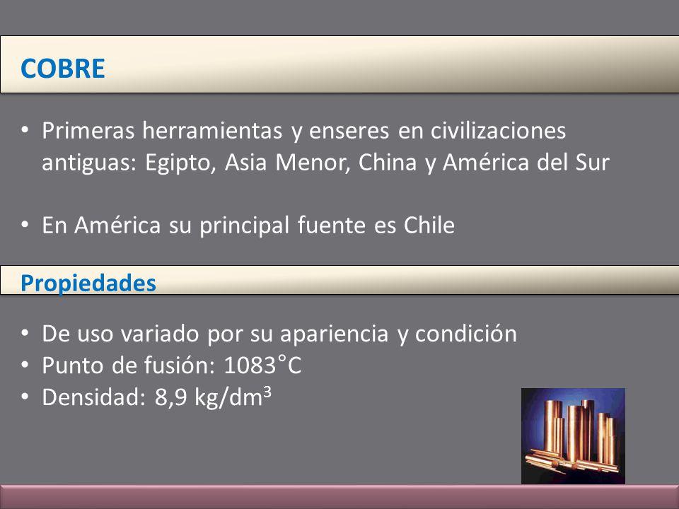 COBRE Primeras herramientas y enseres en civilizaciones antiguas: Egipto, Asia Menor, China y América del Sur En América su principal fuente es Chile