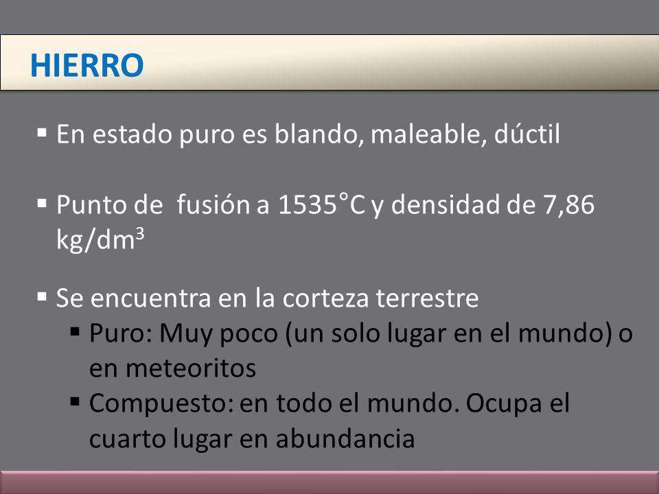 HIERRO En estado puro es blando, maleable, dúctil Punto de fusión a 1535°C y densidad de 7,86 kg/dm 3 Se encuentra en la corteza terrestre Puro: Muy p