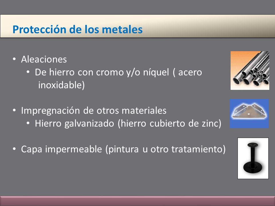 Protección de los metales Aleaciones De hierro con cromo y/o níquel ( acero inoxidable) Impregnación de otros materiales Hierro galvanizado (hierro cu