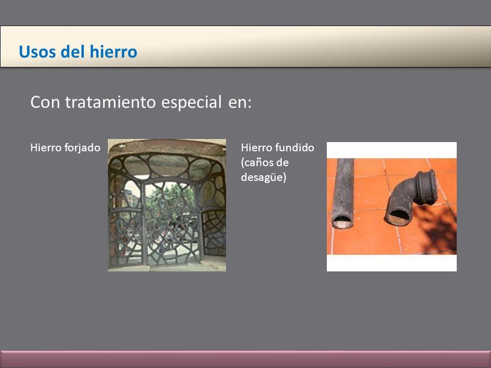 Usos del hierro Con tratamiento especial en: Hierro forjado Hierro fundido (caños de desagüe)