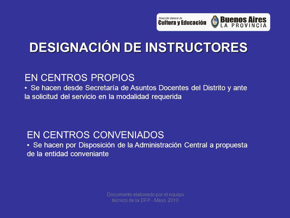 DESIGNACIÓN EN SERVICIOS CONVENIADOS EN TODOS LOS CASOS DEBERÁN PRESENTAR LA SIGUIENTE DOCUMENTACIÓN NOTAS DE SOLICITUD FIRMADA POR LA ENTIDAD E INSPECTOR POR DUPLICADO CURRICULUM VITAE FOTOCOPIA DE DNI FOTOCOPIA DE TITULO/S Y CERTIFICADO/S DECLARACION JURADA DE INCOMPATIBILIDAD SI YA ES DOCENTE FOTOCOPIA DE ULTIMO COULI SI YA ES DOCENTE FOTOCOPIA DE RESOLUCIÓN DE CREACIÓN DEL SERVICIO FOTOCOPIA DE CONVENIO Y RESOLUCIÓN DE CONVENIO Documento elaborado por el equipo técnico de la DFP - Mayo 2010
