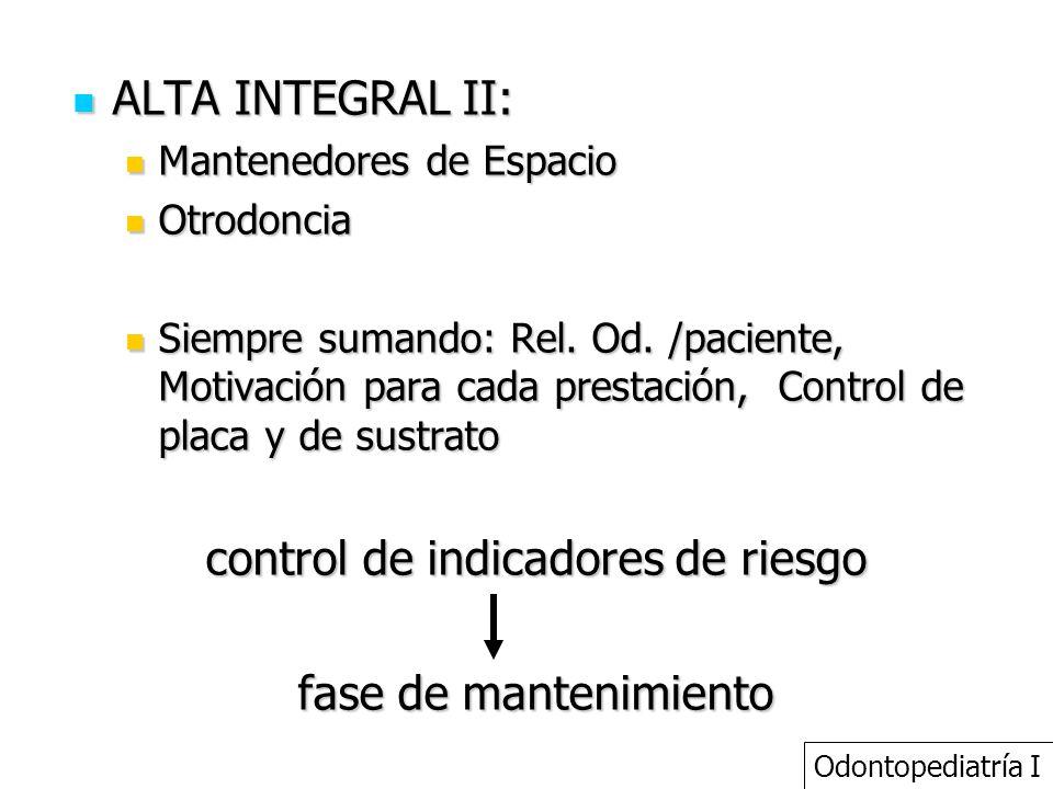 ALTA INTEGRAL II: ALTA INTEGRAL II: Mantenedores de Espacio Mantenedores de Espacio Otrodoncia Otrodoncia Siempre sumando: Rel. Od. /paciente, Motivac