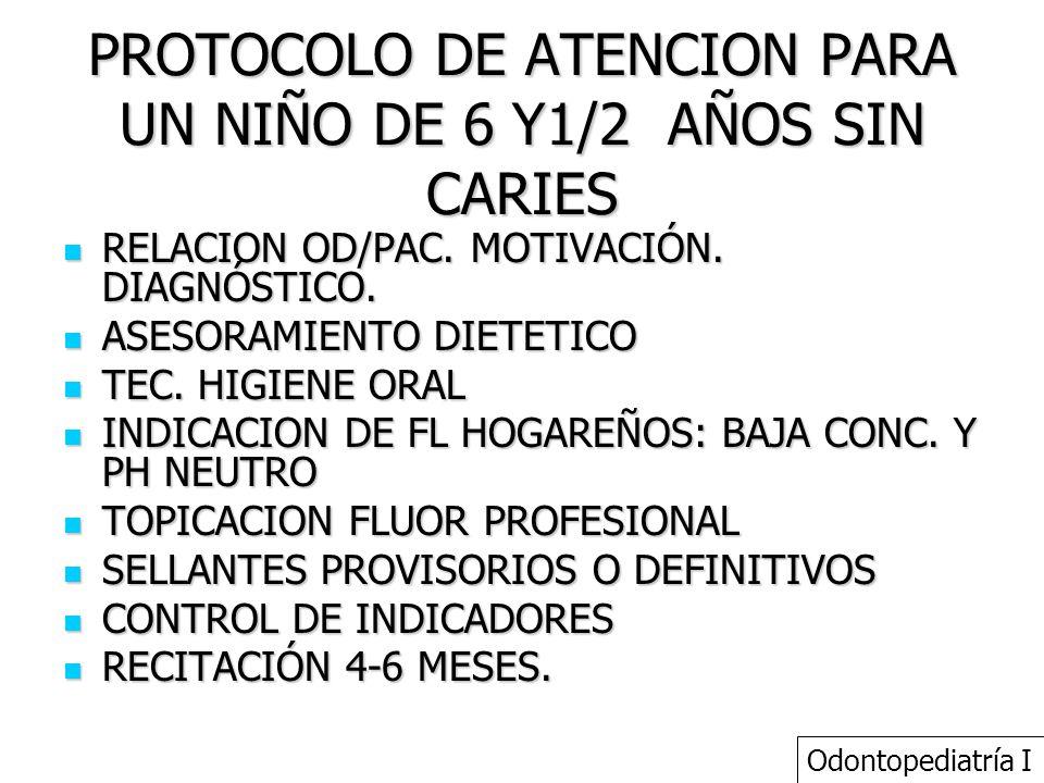 PROTOCOLO DE ATENCION PARA UN NIÑO DE 6 Y1/2 AÑOS SIN CARIES RELACION OD/PAC. MOTIVACIÓN. DIAGNÓSTICO. RELACION OD/PAC. MOTIVACIÓN. DIAGNÓSTICO. ASESO