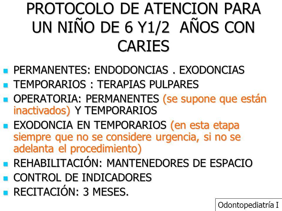 PROTOCOLO DE ATENCION PARA UN NIÑO DE 6 Y1/2 AÑOS CON CARIES PERMANENTES: ENDODONCIAS. EXODONCIAS PERMANENTES: ENDODONCIAS. EXODONCIAS TEMPORARIOS : T