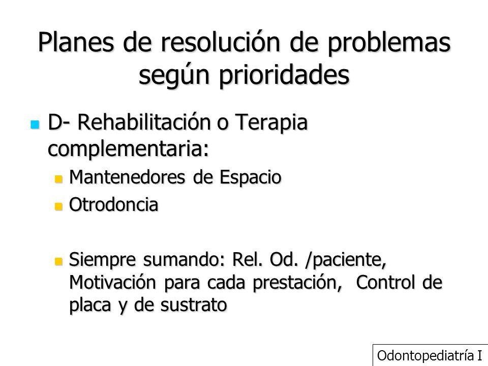Planes de resolución de problemas según prioridades D- Rehabilitación o Terapia complementaria: D- Rehabilitación o Terapia complementaria: Mantenedor