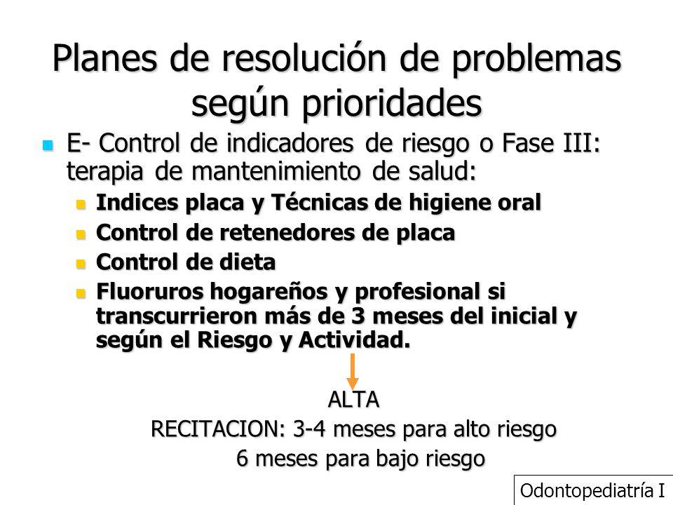 Planes de resolución de problemas según prioridades E- Control de indicadores de riesgo o Fase III: terapia de mantenimiento de salud: E- Control de i