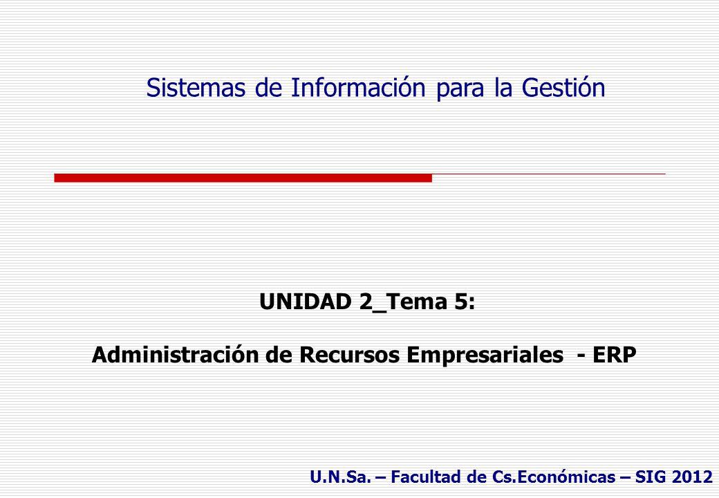 UNIDAD 2_Tema 5: Administración de Recursos Empresariales - ERP Sistemas de Información para la Gestión U.N.Sa.