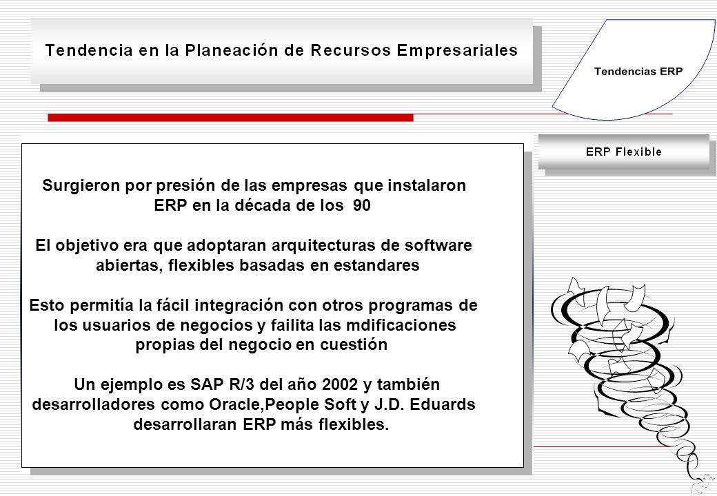 Surgieron por presión de las empresas que instalaron ERP en la década de los 90 El objetivo era que adoptaran arquitecturas de software abiertas, flexibles basadas en estandares Esto permitía la fácil integración con otros programas de los usuarios de negocios y failita las mdificaciones propias del negocio en cuestión Un ejemplo es SAP R/3 del año 2002 y también desarrolladores como Oracle,People Soft y J.D.