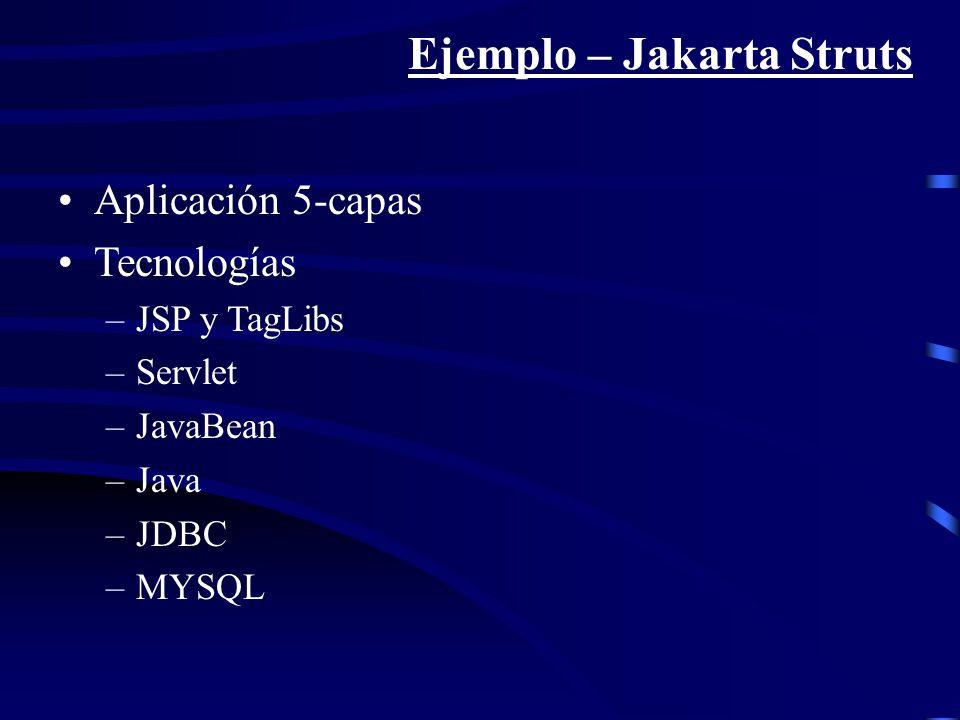 Ejemplo – Jakarta Struts Aplicación 5-capas Tecnologías –JSP y TagLibs –Servlet –JavaBean –Java –JDBC –MYSQL