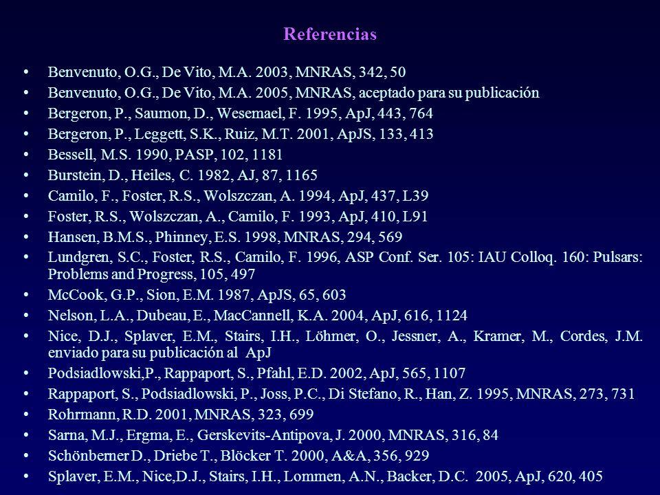 Referencias Benvenuto, O.G., De Vito, M.A. 2003, MNRAS, 342, 50 Benvenuto, O.G., De Vito, M.A. 2005, MNRAS, aceptado para su publicación Bergeron, P.,