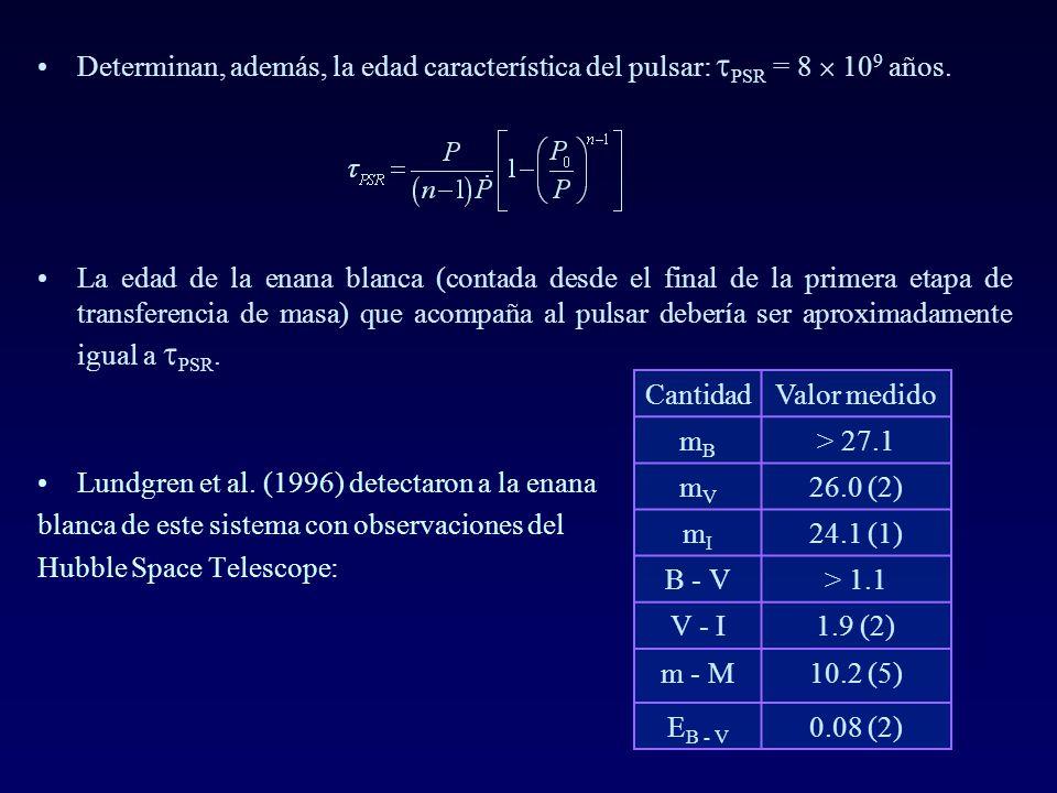 Determinan, además, la edad característica del pulsar: PSR = 8 10 9 años. La edad de la enana blanca (contada desde el final de la primera etapa de tr