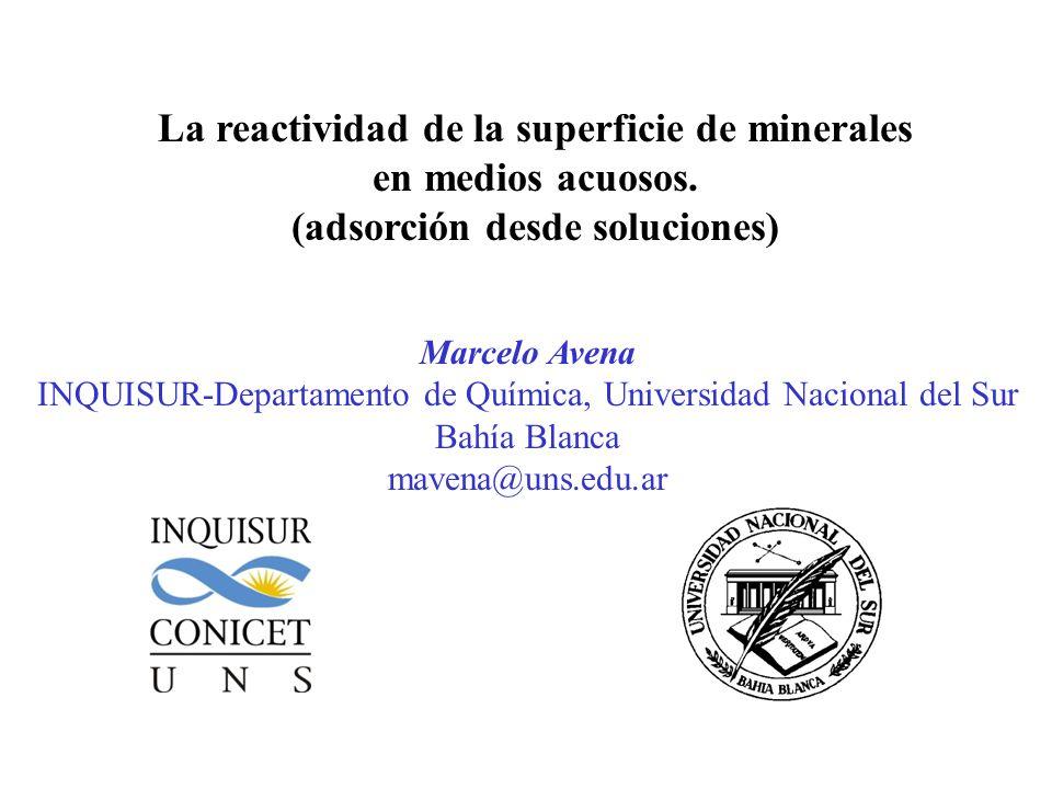 La reactividad de la superficie de minerales en medios acuosos.
