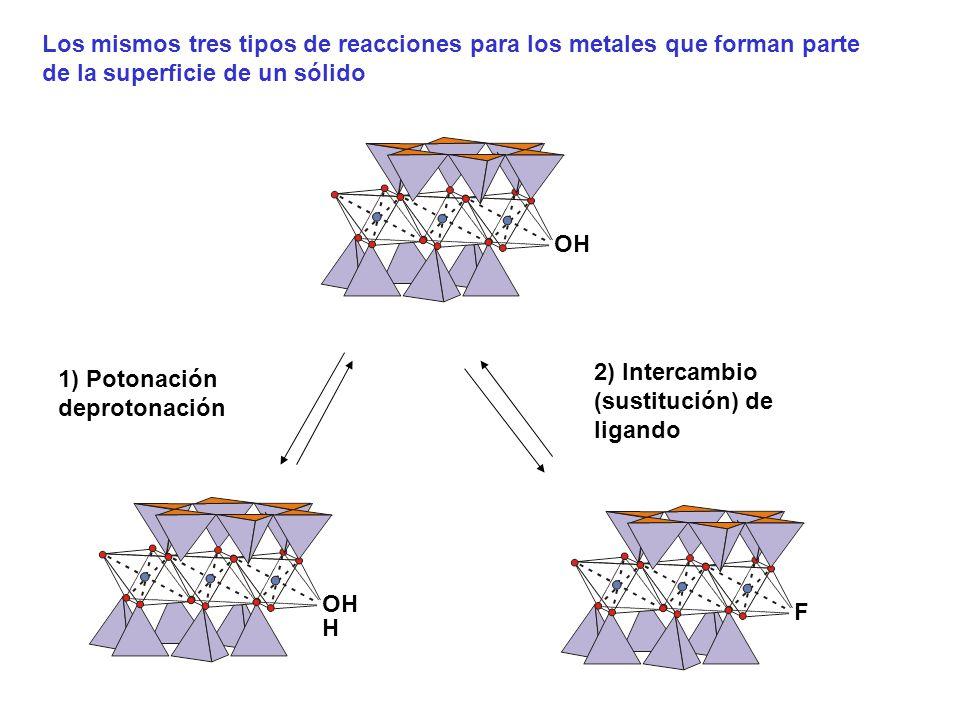 OH 1) Potonación deprotonación H OHF 2) Intercambio (sustitución) de ligando Los mismos tres tipos de reacciones para los metales que forman parte de la superficie de un sólido
