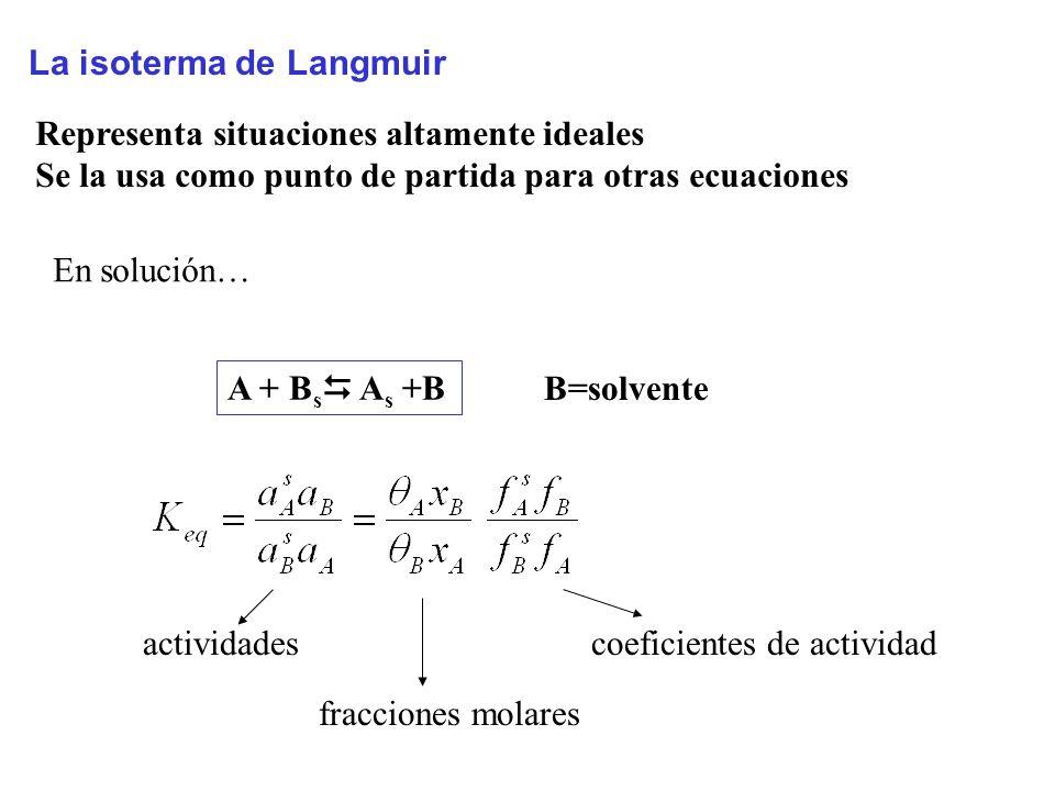 La isoterma de Langmuir Representa situaciones altamente ideales Se la usa como punto de partida para otras ecuaciones A + B s A s +B actividades fracciones molares coeficientes de actividad B=solvente En solución…