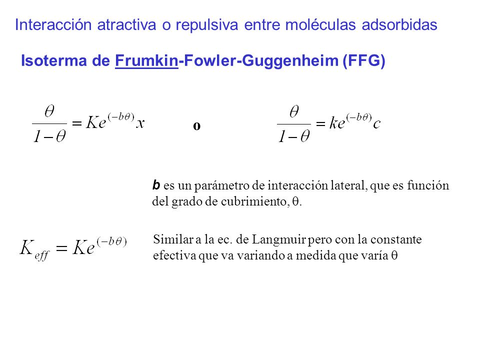 Interacción atractiva o repulsiva entre moléculas adsorbidas o Isoterma de Frumkin-Fowler-Guggenheim (FFG) Similar a la ec. de Langmuir pero con la co