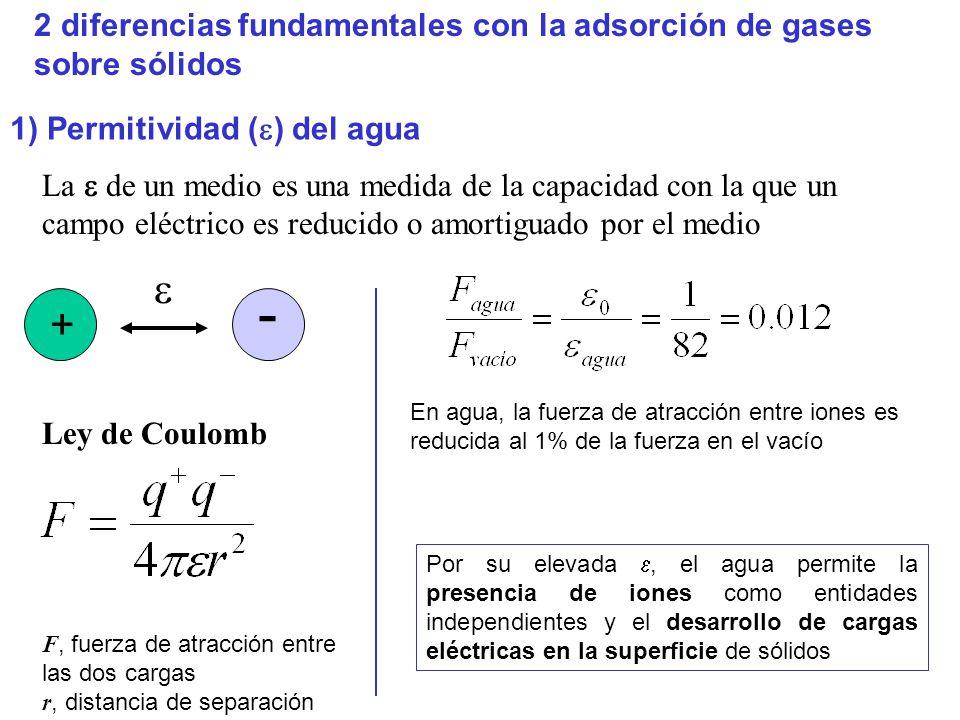 2 diferencias fundamentales con la adsorción de gases sobre sólidos 1) Permitividad ( ) del agua La de un medio es una medida de la capacidad con la que un campo eléctrico es reducido o amortiguado por el medio + - F, fuerza de atracción entre las dos cargas r, distancia de separación Ley de Coulomb En agua, la fuerza de atracción entre iones es reducida al 1% de la fuerza en el vacío Por su elevada, el agua permite la presencia de iones como entidades independientes y el desarrollo de cargas eléctricas en la superficie de sólidos