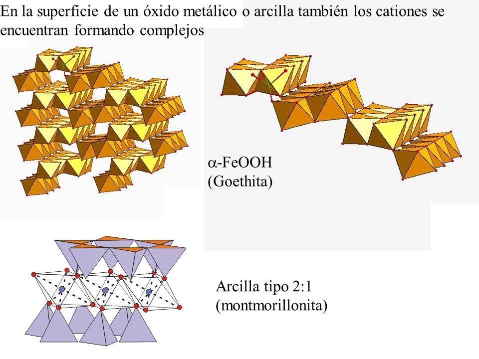 Arcilla tipo 2:1 (montmorillonita) En la superficie de un óxido metálico o arcilla también los cationes se encuentran formando complejos -FeOOH (Goeth