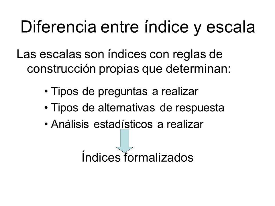 Diferencia entre índice y escala Las escalas son índices con reglas de construcción propias que determinan: Tipos de preguntas a realizar Tipos de alt