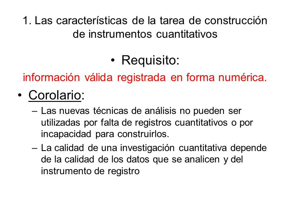 1. Las características de la tarea de construcción de instrumentos cuantitativos Requisito: información válida registrada en forma numérica. Corolario