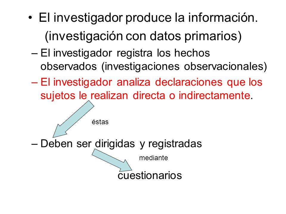 El investigador produce la información. (investigación con datos primarios) –El investigador registra los hechos observados (investigaciones observaci
