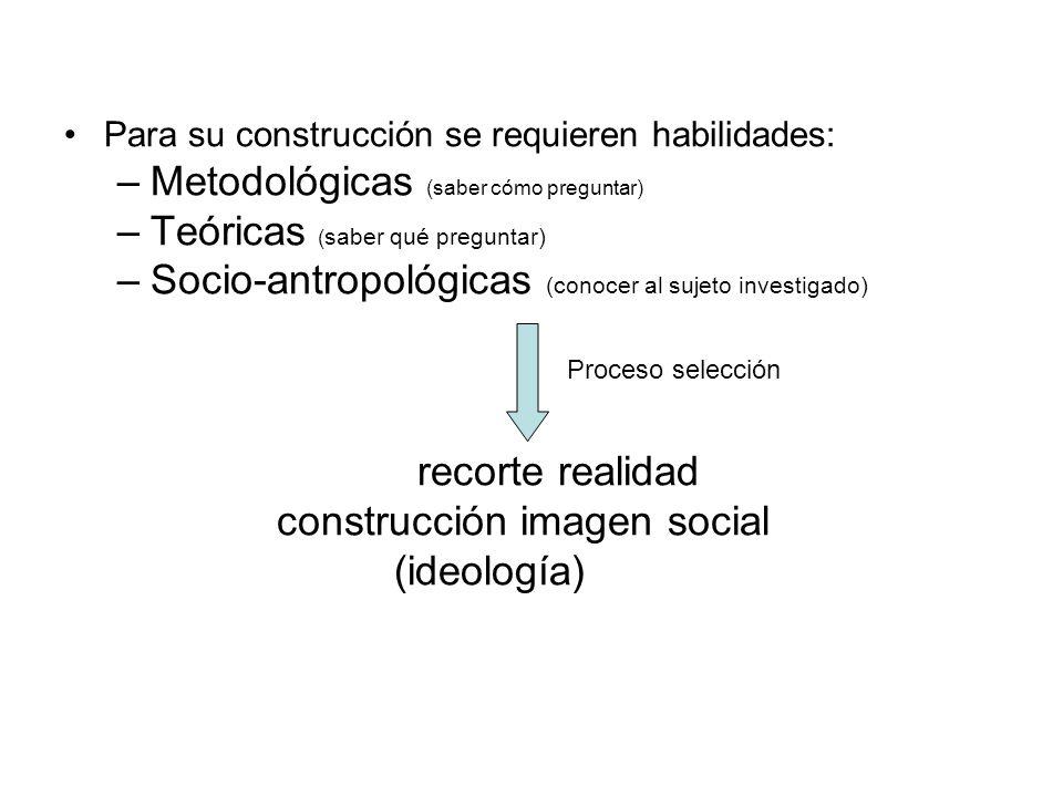 Para su construcción se requieren habilidades: –Metodológicas (saber cómo preguntar) –Teóricas ( saber qué preguntar) –Socio-antropológicas (conocer a
