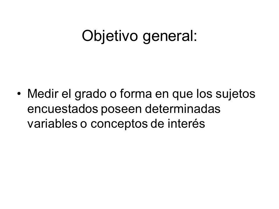 Objetivo general: Medir el grado o forma en que los sujetos encuestados poseen determinadas variables o conceptos de interés