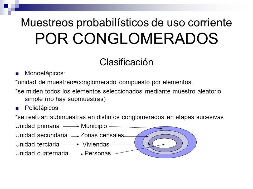Muestreos probabilísticos de uso corriente POR CONGLOMERADOS Clasificación Monoetápicos: *unidad de muestreo=conglomerado compuesto por elementos. *se