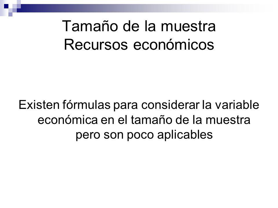 Tamaño de la muestra Recursos económicos Existen fórmulas para considerar la variable económica en el tamaño de la muestra pero son poco aplicables