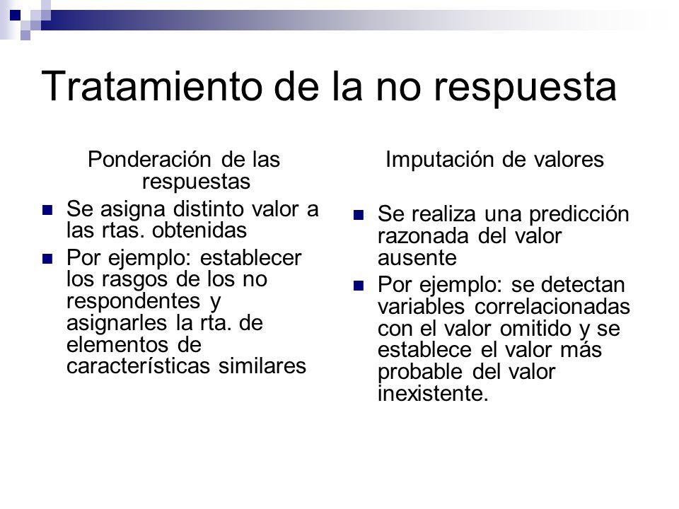 Tratamiento de la no respuesta Ponderación de las respuestas Se asigna distinto valor a las rtas. obtenidas Por ejemplo: establecer los rasgos de los