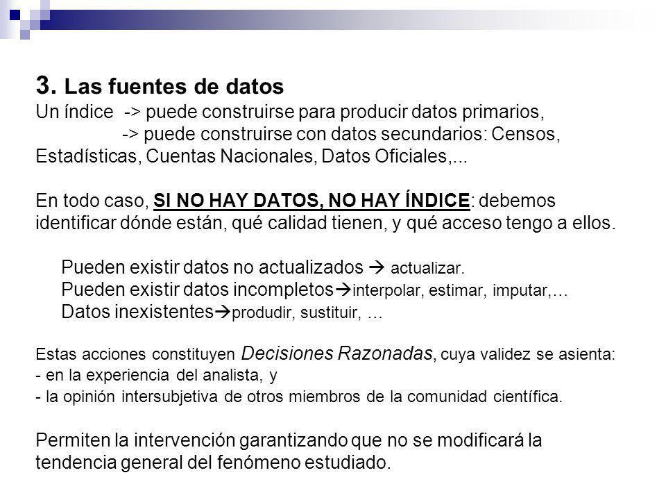 3. Las fuentes de datos Un índice -> puede construirse para producir datos primarios, -> puede construirse con datos secundarios: Censos, Estadísticas