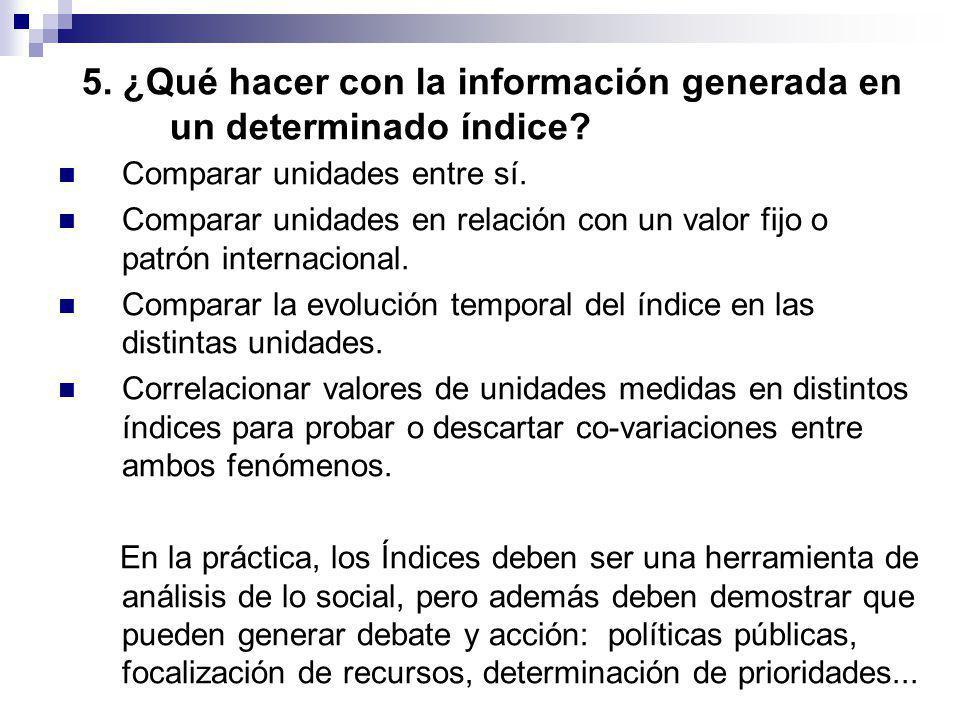 5. ¿Qué hacer con la información generada en un determinado índice? Comparar unidades entre sí. Comparar unidades en relación con un valor fijo o patr
